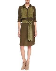 Long-Sleeve Two-Tone Belted Dress, Military by Haute Hippie at Neiman Marcus.