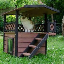 Wooden Cat House Outdoor Home Roof Shelter Garden Patio Indoor Weatherproof