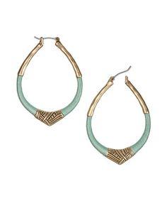 Loving this The Sak Gold & Mint Arabesque Hoop Earrings on #zulily! #zulilyfinds