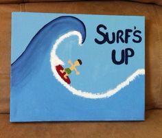 Surfs up canvas art by Handpaintedbykaitlyn on Etsy