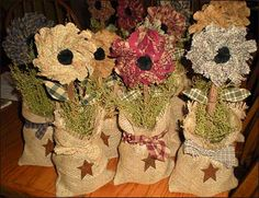 Fluffy Flower Burlap Holder by Jillians Country Home