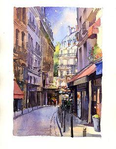 """Rue de la Harpe, Paris. Size 8.6"""" x 12.8"""""""