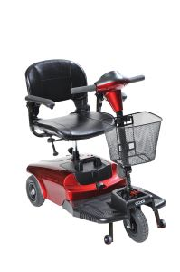The Bobcat 3 Wheel Compact Scooter by Drive Medical is ideal for indoor and outdoor use and is lightweight and easy to operate. It has a 32.2″ turning radius, with a top speed of 4 mph and a cruising range of 7.5 miles. It comes in a convenient, compact 4 piece design allows for easy tool free assembly and disassembly.