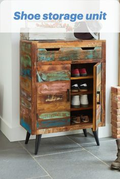 Hidden shoe storage unit from @greenwayfurniture Front Door Shoe Storage, Shoe Storage Unit, Boot Storage, Bench With Shoe Storage, Wellies Boots, Space Saving, Liquor Cabinet, Small Spaces, The Unit