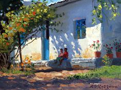 Sitting In The Shade Painting ~ Roelof Rossouw Landscape Art, Landscape Paintings, Watercolor Paintings, Art And Illustration, Fine Art Amerika, Bob Ross Paintings, Building Painting, Impressionism Art, Light Painting