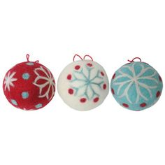 Holiday Living 3-Pack White/Blue/Red Wool Snowflake Round Ornaments