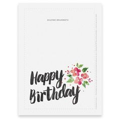 Printable Birthday Card For Her / Watercolor Birthday Card / Floral Birthday Card / Happy Birthday Greeting Birthday Cards To Print, Free Printable Birthday Cards, Watercolor Birthday Cards, Happy Birthday Signs, Birthday Cards For Mom, Birthday Card Template, Happy Birthday Greetings, Mom Birthday, Card Birthday