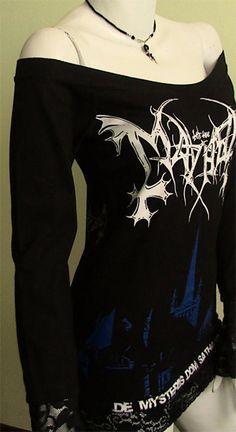 MAYHEM  Black Metal Deathcrush DIY Women Top Shirt by obskura, $69.99