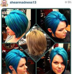 Get the steps to create the cut and color by Stefani Picci: Includes cutting how to and Pravana Vivids color formula. Extreme Hair Colors, Vivid Hair Color, Cool Hair Color, Cut And Color, Zooey Deschanel, Pastel Hair, Ombre Hair, Creative Hairstyles, Cool Hairstyles