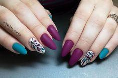 elegant autumn nail designs have to try - blackish green floral stiletto nails inspo 31 ~ Modern House Design Cute Nail Art Designs, Fall Nail Designs, Fall Nail Art, Autumn Nails, Hair And Nails, My Nails, Pointy Nails, Floral Nail Art, Dream Nails