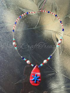 Red white and blue polymer clay necklace by Valleycrafttreasures