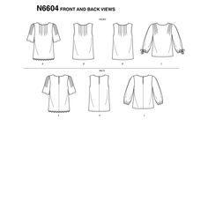 New Look Sewing Pattern Misses' Tops New Look Women, Flat Sketches, American Girl Crafts, Loose Fitting Tops, Crafts For Girls, Extra Fabric, Top Pattern, Cool Designs, Sewing Patterns