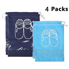 YAMIU 4 Pcs Shoe Bags Dustproof Drawstring with Transparent Window Travel Shoe Storage Bags -- Check out the image by visiting the link. (Note:Amazon affiliate link)