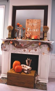 """Give Thanks"" Fireplace Decor FROM: Simply Southern, Sweet, Classy and Sassy: October 2011"