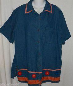 Delta Burke Shirt Size 1X Blouse Top Short Sleeves Blue Summer Cruise Jacket free shipping $10.55