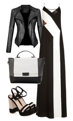 """black and white"" by nespressita on Polyvore featuring Diane Von Furstenberg and Topshop"