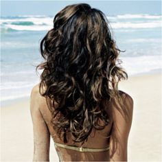 Beautiful waves and love the light brown highlights on dark hair.
