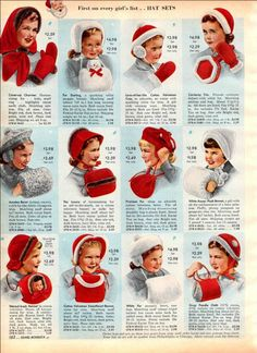 I still have my hat my sweet grandmother made! Trimmed with real seal fur. Vintage 1950's children's winter hat sets - extract from catalogue....perfect for Christmas