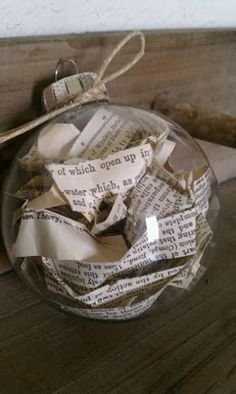book page pilled christmas ornament glass ball