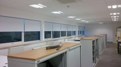 Roller Blinds install to Haymarket office. Using Unilux blackout fabric