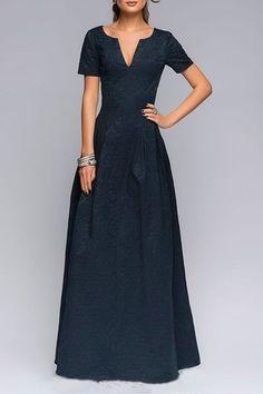 Dark Blue Plunging Neckline Short Sleeve Maxi Dress