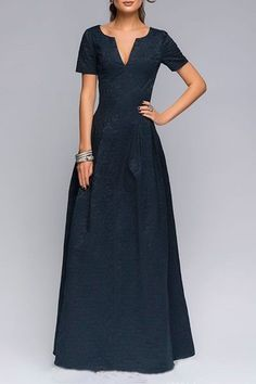 Dark Blue Plunging Neckline Short Sleeve Maxi Dress