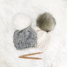 Knit Baby Hat Faux Fur Pom Pom Beanie by Olive & Arrow on Etsy- $20