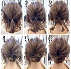 Short hair updo Quick and Easy Step by Step Hair Tutorials for Long, Medium,Short Hair Easy Updos For Medium Hair, Medium Short Hair, Medium Hair Styles, Curly Hair Styles, Short Hair Updo Easy, Short Hair Updo Tutorial, Buns For Short Hair, Updos For Thin Hair, Short Hair Tutorials