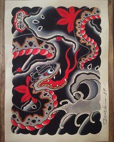 Hebi to momiji Thank you for watching!!! #hebi #snake #momiji #painting #watercolor #illustration #japaneseart #tattooart #pintura #aquarela #irezumi #horimono #tattoodesign #deneka #horiden #brasil #彫電 #我慢