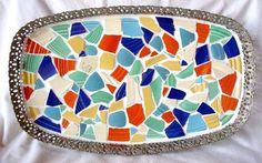 VINTAGE FIESTA WARE MOSAIC-VANITY TRAY. What to do with all your broken dishes.