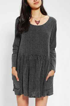 Long-sleeved babydoll dress in acid-washed lace from Evil Twin. #urbanoutfitters