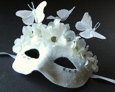 GORGEOUS!  Winter Takes Flight- Fairy, Mardi Gras, Venetian or masquerade mask. $40.00, via Etsy.