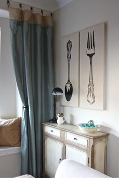 """Fork and Spoon Vinyl Wall Decal french country home decor 63"""" graphic Sticker wall Art  Gigantic silverware decals Culinary Flatware Cutlery. $49.00, via Etsy."""