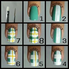 Plaid nails by Asinails. Instagram media by asinails - My simple chekered photo tutorial. You will need flat brush and stipping brush. Just follow the steps in the picture. And when you're doneput your favorite top coat shinny or matte will do. If you use matted this will looke vintage.. ^_^  so goodluck! If i inspire you and try my tutorial please give credit or say inspired by @asinails thank you! ^_^ ♥♥♥