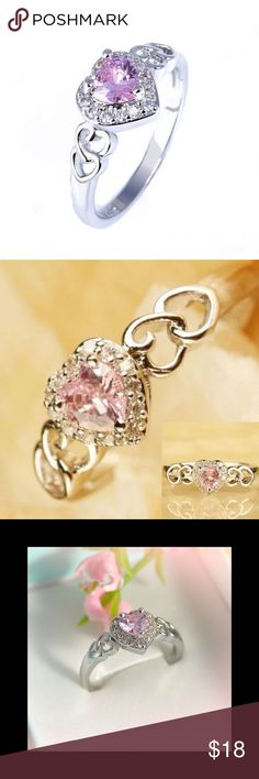Pink n White Topaz 925 Sterling Silver Heart Ring 🎉3 Day Sale All $ Reduced 🎉  White Gold Filled Lab created white n pink topaz heart ring 925 Sterling Silver Size 10  Mother's day gift shopping? LOOK no further! CHECK OUT MY CLOSET N SAVE BIG ON JEWELRY, FASHION N MORE ➕Next day ship  💯Brand new HIGH QUALITY💯 ➕ BUNDLE n Save more💲❌No Trades 💯What u C is what u get💯Price is Firm✔ ❤3 days 2 Raise💰4 sweet 16 gift 4 my niece pls follow/share❤ ✔️Closet closed 5-7 - 5-25 4 vac  ✔Buy b4…