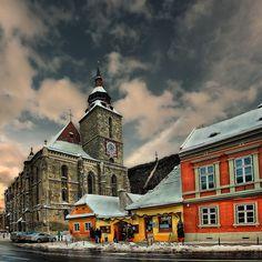 The Black Church (Biserica Neagra), the most impressive gothic monument in Braşov, Transylvania, Romania.