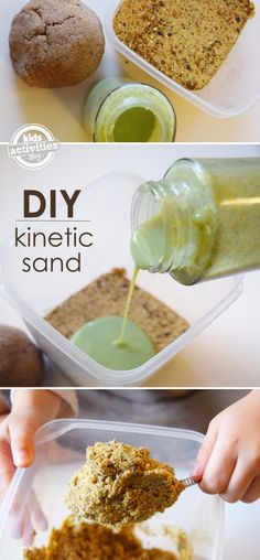 DIY kinetic sand!! This will be a fun project for my girls!