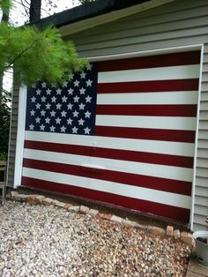 Near and dear to our hearts. Garage Studio, Garage Art, Garage Doors, Garage Door Colors, Let Freedom Ring, Painted Doors, Big Project, Door Ideas, Garages