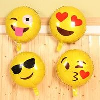 Wish | 10pcs/lot 45*45cm 18 inch party round Smiling face balloon clown expression kiss ballon cartoon expression balloons (Size: Pack of 10, Color: Multicolor)