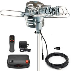 InstallerParts Snap On Amplified Outdoor HDTV Antenna -- 150 Miles Long Range -- Motorized 360 Degree Rotation -- Wireless Remote Control - List for Home and Garden Products Best Outdoor Tv Antenna, Diy Tv Antenna, Ham Radio Antenna, Long Range Tv Antenna, Electrical Circuit Diagram, Electrical Wiring, Travel Trailer Floor Plans, Television Antenna, Digital Tv