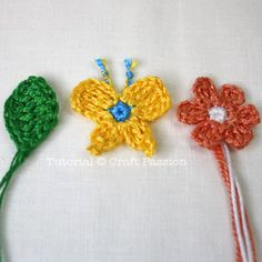 Leaf Crochet Pattern:  {green} Begin with a sl knot of approx 4″ tail.  r1 – ch9.  r2 – sc1 on the 2nd st from hook, hdc1, dc3, hdc1, sc1, slst on the last ch st, turn and work on the other loop of the base ch. ch1, slst on 1st st, sc1, hdc1, dc3, hdc1, sc1, slst. fo & leave approx 4″ tail.  Use tapestry needle to bring the yarn end to the starting side of the leaf through midrib.