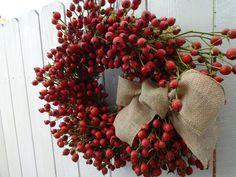 Rose Hip Wreath Red Berry Wreath Fall Wreath Autumn Wreath Natural Wreath Wreath For Fall Thanksgiving Wreath Holiday Wreath Wreath Twig Wreath, Wreath Fall, Autumn Wreaths, Holiday Wreaths, Door Wreath, Red Berry Wreath, Lavender Wreath, Thanksgiving Wreaths, Burlap Bows