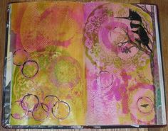 Altered Ledger- Kingfisher in Circles Spread keepanartjournal.com (8-23-12)