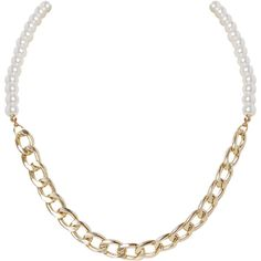 Humble Chic NY Chain & Pearl Necklace ($20) ❤ liked on Polyvore featuring jewelry, necklaces and goldtone