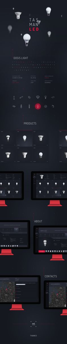 Website design for a new LED light bulb manufacturer TASMAN.