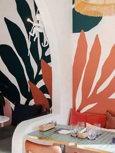 Merci Marcel Orchard Road Singapore is the brand's third opening Orchard Road Singapore, Apartment Color Schemes, Garden Mural, Wall Painting Decor, Comfy Bedroom, Sofa Frame, Tropical Decor, Cafe Design, Dining Room Design
