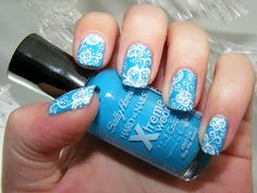 Blue and White Patterned Nails