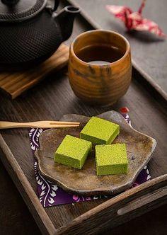 Japanese matcha sweets ( like the dishware too)