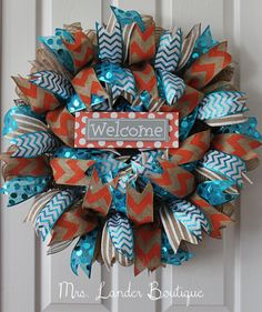 Turquoise and Coral Wreath  Southwestern by MrsLanderBoutique