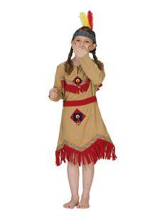 Indianerin Indianermädchen Kinderkostüm beige-rot-gelb , günstige Faschings Kostüme bei Karneval Megastore, der größte Karneval und Faschings Kostüm- und Partyartikel Online Shop Europas!